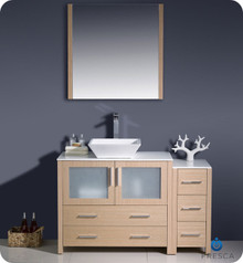 "Fresca Torino FVN62-3612LO-VSL 48"" Light Oak Bathroom Vanity Cabinet w/ Side Cabinet & Vessel Sink & Mirror"
