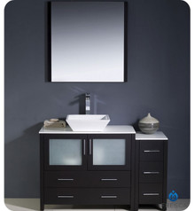 "Fresca Torino FVN62-3612ES-VSL 48"" Espresso Modern Bathroom Vanity Cabinet w/ Side Cabinet & Vessel Sink - Espresso"