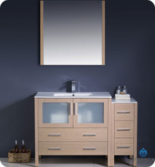 "Fresca Torino FVN62-3612LO-UNS 48"" Light Oak Modern Bathroom Vanity Cabinet w/ Side Cabinet & Undermount Sinks - Light Oak"