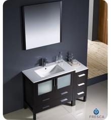 "Fresca Torino FVN62-3612ES-UNS 48"" Espresso Modern Bathroom Vanity Cabinet w/ Side Cabinet & Undermount Sinks - Espresso"