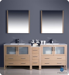 "Fresca Torino FVN62-361236LO-UNS 84"" Light Oak Modern Double Sink Bathroom Vanity Cabinet w/ Side Cabinet & Undermount Sinks - Light Oak"