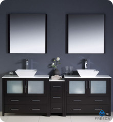 "Fresca Torino FVN62-361236ES-VSL 84"" Espresso Modern Double Sink Bathroom Vanity Cabinet w/ Side Cabinet & Vessel Sinks - Espresso"