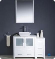 "Fresca Torino FVN62-3012WH-VSL 42"" White Modern Bathroom Vanity Cabinet w/ Side Cabinet & Vessel Sink"