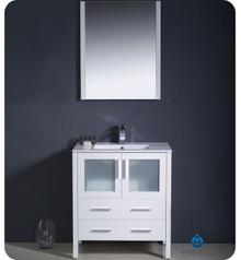 """Fresca Torino FVN6230WH-UNS 30"""" White Modern Bathroom Vanity Cabinet w/ Undermount Sink - White"""