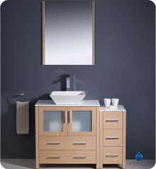 "Fresca Torino FVN62-3012LO-VSL 42"" Light Oak Modern Bathroom Vanity Cabinet w/ Side Cabinet & Vessel Sink"