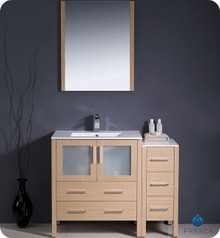 "Fresca Torino FVN62-3012LO-UNS 42"" Light Oak Modern Bathroom Vanity Cabinet w/ Side Cabinet & Undermount Sink"