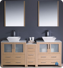"Fresca Torino FVN62-301230LO-VSL 72"" Light Oak Modern Double Sink Bathroom Vanity Cabinet w/ Side Cabinet & Vessel Sinks - Light Oak"