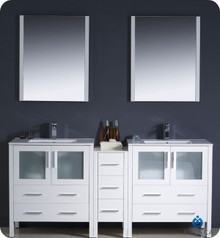 "Fresca Torino FVN62-301230WH-UNS 72"" White Modern Double Sink Bathroom Vanity Cabinet w/ Side Cabinet & Undermount Sinks - White"
