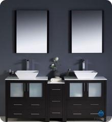 "Fresca Torino FVN62-301230ES-VSL 72"" Espresso Modern Double Sink Bathroom Vanity Cabinet w/ Side Cabinet & Vessel Sinks - Espresso"