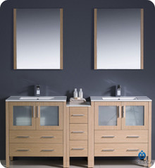 "Fresca Torino FVN62-301230LO-UNS 72"" Light Oak Modern Double Sink Bathroom Vanity Cabinet w/ Side Cabinet & Undermount Sinks - Light Oak"
