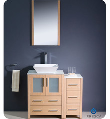 "Fresca Torino FVN62-2412LO-VSL 36"" Light Oak Modern Bathroom Vanity Cabinet w/ Side Cabinet & Vessel Sink - Light Oak"
