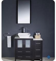 "Fresca Torino FVN62-2412ES-VSL 36"" Espresso Modern Bathroom Vanity Cabinet w/ Side Cabinet & Vessel Sink - Espresso"