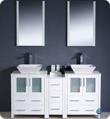 "Fresca Torino FVN62-241224WH-VSL 60"" White Modern Double Sink Bathroom Vanity Cabinet w/ Side Cabinet & Vessel Sinks - White"