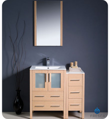 "Fresca Torino FVN62-2412LO-UNS 36"" Light Oak Modern Bathroom Vanity Cabinet w/ Side Cabinet & Undermount Sink - Light Oak"