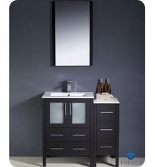 "Fresca Torino FVN62-2412ES-UNS 36"" Espresso Modern Bathroom Vanity Cabinet w/ Side Cabinet & Undermount Sink - Espresso"