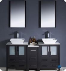 "Fresca Torino FVN62-241224ES-VSL 60"" Espresso Modern Double Sink Bathroom Vanity Cabinet w/ Side Cabinet & Vessel Sinks - Espresso"