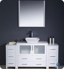 "Fresca Torino FVN62-123612WH-VSL 60"" White Modern Bathroom Vanity Cabinet w/ 2 Side Cabinets & Vessel Sink - White"