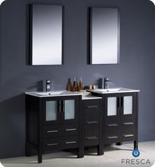 "Fresca Torino FVN62-241224ES-UNS 60"" Espresso Modern Double Sink Bathroom Vanity Cabinet w/ Side Cabinet & Undermount Sinks - Espresso"