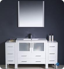 "Fresca Torino FVN62-123612WH-UNS 60"" White Modern Bathroom Vanity Cabinet w/ 2 Side Cabinets & Undermount Sink - White"