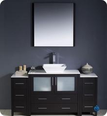 "Fresca Torino FVN62-123612ES-VSL 60"" Espresso Modern Bathroom Vanity Cabinet w/ 2 Side Cabinets & Vessel Sink - Espresso"
