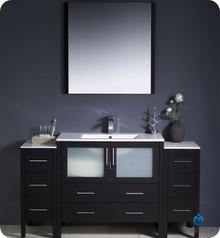 "Fresca Torino FVN62-123612ES-UNS 60"" Espresso Modern Bathroom Vanity Cabinet w/ 2 Side Cabinets & Undermount Sink - Espresso"