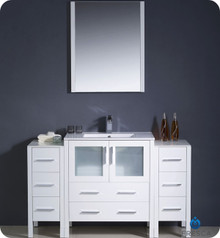 "Fresca Torino FVN62-123012WH-UNS 54"" White Modern Bathroom Vanity Cabinet w/ 2 Side Cabinets & Undermount Sink - White"