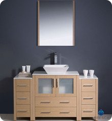 "Fresca Torino FVN62-123012LO-VSL 54"" Light Oak Modern Bathroom Vanity Cabinet w/ 2 Side Cabinets & Vessel Sink - Light Oak"