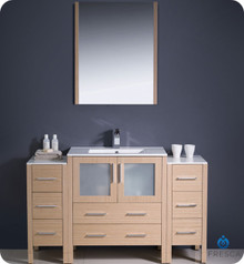 "Fresca Torino FVN62-123012LO-UNS 54"" Light Oak Modern Bathroom Vanity Cabinet w/ 2 Side Cabinets & Undermount Sink - Light Oak"