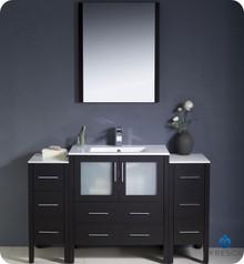 "Fresca Torino FVN62-123012ES-UNS 54"" Espresso Modern Bathroom Vanity Cabinet w/ 2 Side Cabinets & Undermount Sink - Espresso"