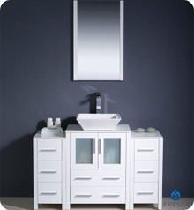 "Fresca Torino FVN62-122412WH-VSL 48"" White Modern Bathroom Vanity Cabinet w/ 2 Side Cabinets & Vessel Sink - White"