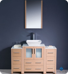 "Fresca Torino FVN62-122412LO-VSL 48"" Light Oak Modern Bathroom Vanity Cabinet w/ 2 Side Cabinets & Vessel Sink - Light Oak"