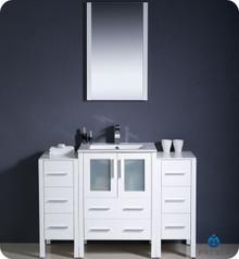 "Fresca Torino FVN62-122412WH-UNS 48"" White Modern Bathroom Vanity Cabinet w/ 2 Side Cabinets & Undermount Sink - White"