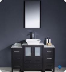 "Fresca Torino FVN62-122412ES-VSL 48"" Espresso Modern Bathroom Vanity Cabinet w/ 2 Side Cabinets & Vessel Sink - Espresso"
