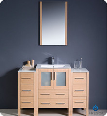 "Fresca Torino FVN62-122412LO-UNS 48"" Light Oak Modern Bathroom Vanity Cabinet w/ 2 Side Cabinets & Undermount Sink - Light Oak"