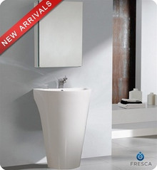 "Fresca Parma FVN5023WH 24"" Pedestal Sink w/ Medicine Cabinet - Modern Bathroom Vanity Cabinet - White"