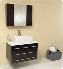 "Fresca Modello FVN6183ES Modern 32"" Bathroom Vanity Cabinet with Drawers & Vessel Sink / Faucet & Marble Countertop & Mirror Cabinet - Espresso"
