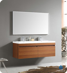 Fresca FVN8040TK Teak Modern 56'' Bathroom Vanity Cabinet W/ Wavy Double Sinks  - Teak