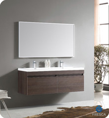 Fresca FVN8040GO Gray Oak Modern 56'' Bathroom Vanity Cabinet W/ Wavy Double Sinks  - Gray Oak