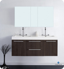 "Fresca FVN8013GO Wall Mount 54"" Double Sink Bathroom Vanity Cabinet & Faucets & Mirror Medicine Cabinet - Gray Oak - Opulento"