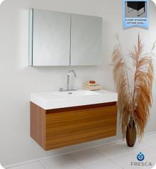 Fresca FVN8010TK Teak Modern 39'' Bathroom Vanity Cabinet W/ Medicine Cabinet  - Teak