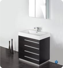 "Fresca FVN8030BW 30"" Black Modern Bathroom Vanity Cabinet W/ Medicine Cabinet  - Black"