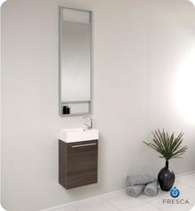 Fresca FVN8002GO Small Gray Oak Modern Wall Hung 15'' Bathroom Vanity Cabinet W/ Tall Mirror  - Gray Oak