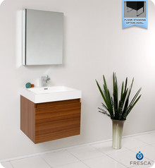 Fresca FVN8006TK Teak Modern 24'' Bathroom Vanity Cabinet W/ Medicine Cabinet  - Teak