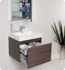 Fresca FVN8006GO Gray Oak Modern 24'' Bathroom Vanity Cabinet W/ Medicine Cabinet  - Gray Oak