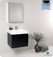 Fresca FVN8006BW 23'' W Bathroom Vanity Cabinet , White Sink & Faucet & Mirror Medicine Cabinet - Wall Mounted - Black