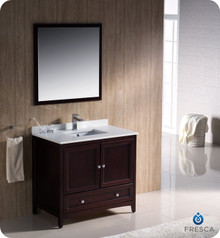 "Fresca FVN2036MH 36"" Mahogany Traditional Bathroom Vanity Cabinet w/ Mirror"