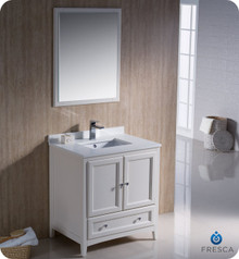 "Fresca FVN2030AW 30"" Antique White Traditional Bathroom Vanity Cabinet w/ Mirror"