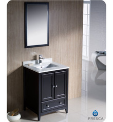 "Fresca FVN2024ES 24"" Espresso Traditional Bathroom Vanity Cabinet w/ Mirror"