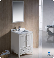 "Fresca FVN2024AW 24"" Antique White Traditional Bathroom Vanity Cabinet w/ Mirror"