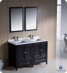 "Fresca FVN20-2424ES 48"" Espresso Traditional Double Sink Bathroom Vanity Cabinet w/ 2 Mirrors"